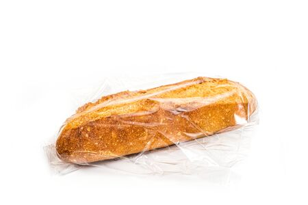 baguette bread in plastic bag isolated on white background