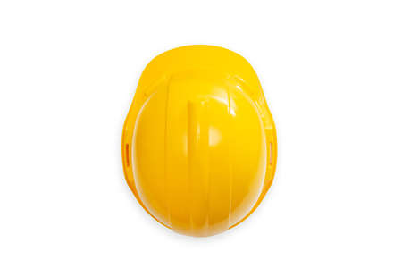 top view of construction hard hat safety helmet used in workplace environments such as industrial or construction sites to protect head from injury due to falling objects