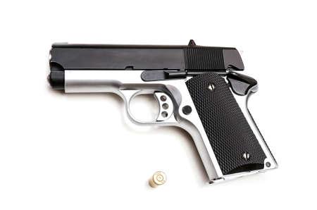 handgun and 9mm pistol bullet isolated on white background Stock Photo