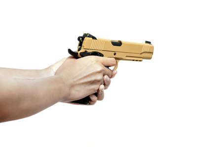 Short Gun in hand aiming to shoot isolated on white