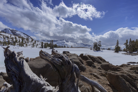 pct: Carson Pass Snow - An alpine lake in the dead of winter in the Sierra Nevada on the pacific crest trail.