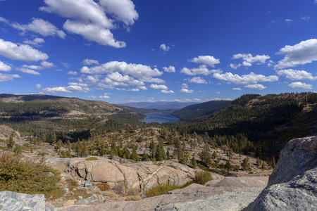 pct: Donner Pass - Clouds roll over the notorious Donner Pass in the Sierra Nevada mountains on the pacific crest trail. Stock Photo