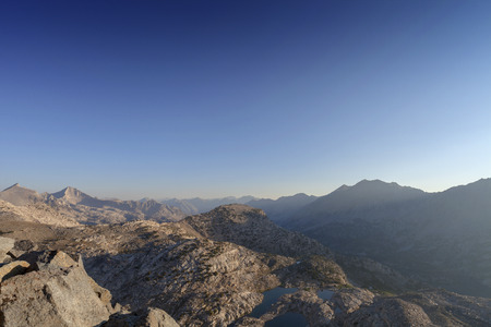 pct: Mountain Pass Sunrise - Sunrise high above the Sierra Nevada mountain pass on the pacific crest trail. Stock Photo