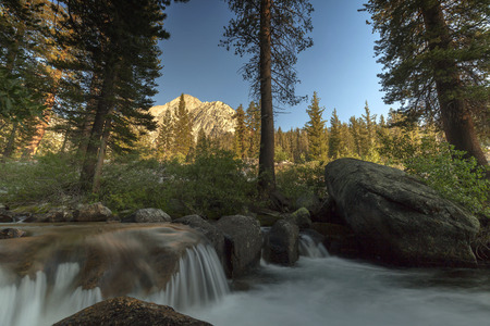 pct: Palisade Creek -  Smooth flowing mountain creek in the Sierra Nevada mountains on the pacific crest trail.