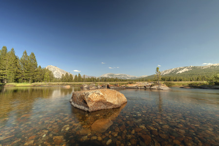 sierras: Yosemite Meadow - Crystal clear river in Yosemite National Park.