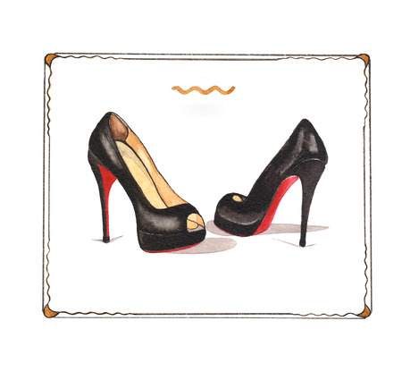 Watercolor fasion illustration with shoes louboutin