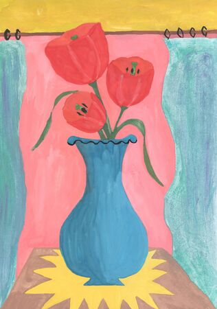 Watercolor still life of tulips in a vase Stock Photo