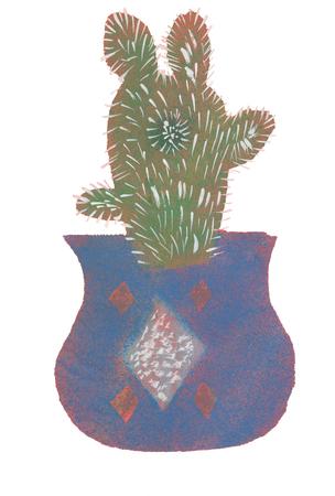 Child Watercolor illustration cactus in blue pot
