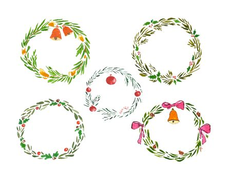 Watercolor set of christmas wreath on white background 写真素材