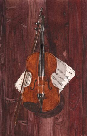 Watercolor illustration of a violin and notes on a brown wood background Stock Photo