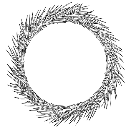 Round Christmas wreath of pine tree branch. Hand draw ink fir wreath.