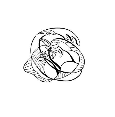 Vector illustration of decorative Flower Art nouveau Çizim