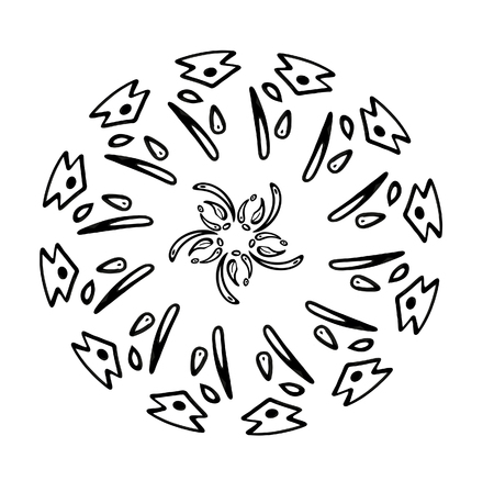 Abstract snowflake of geometric shapes. Christmas. New Year card illustration. Holiday design. Stok Fotoğraf