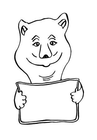 Little bear holds a white sign in his hands