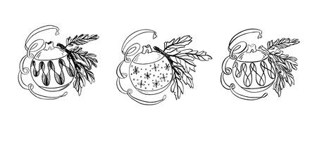 Set illustration of colorful Christmas toy balls