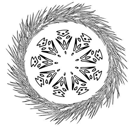 Vector Abstract snowflake of geometric shapes and pine tree wreath. Christmas. New Year card Çizim