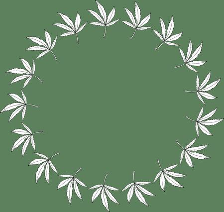 Round wreath green frame leave of big hemp Stok Fotoğraf