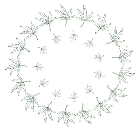 Decorative green leave of big hemp in round frame Stok Fotoğraf