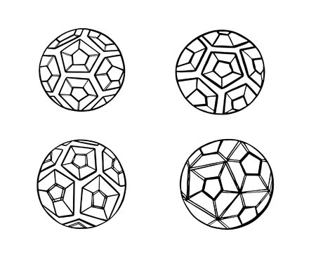 Set Illustration of the abstract black contour soccer ball Stock Photo
