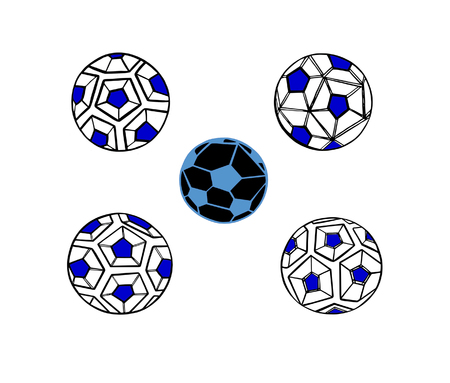 Set Illustration of the abstract contour soccer ball
