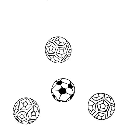 Vector Set Illustration of the abstract black contour soccer ball