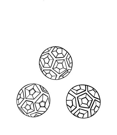 Vector Set Illustration of the abstract contour soccer ball