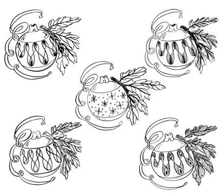 Set illustration of New Year's Christmas toy balls Foto de archivo - 129139719