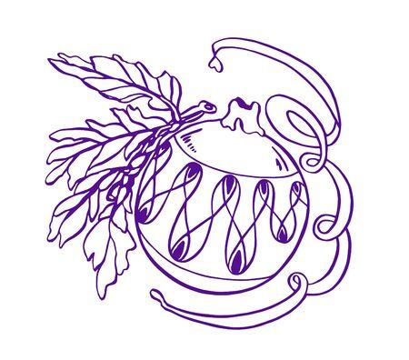 Blue violet illustration of New Year's Christmas toy balls Foto de archivo - 129139724