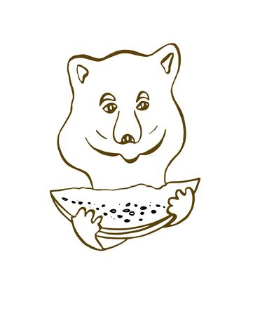 Little bear holds watermelon slice in his hands