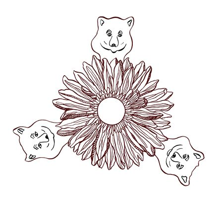 Little smile Bears and Chryzantemum flower with soccer ball in the middle