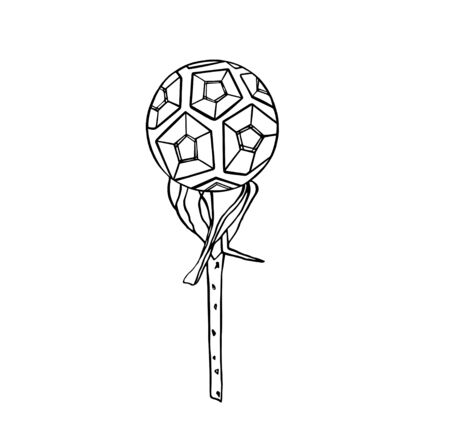 Black contour Illustration of the soccer ball on rose branch