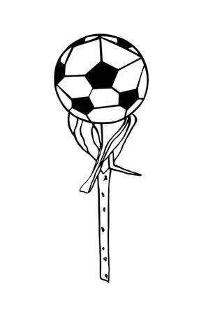 Black contour Illustration of the soccer ball on rose branch Stok Fotoğraf - 131965591