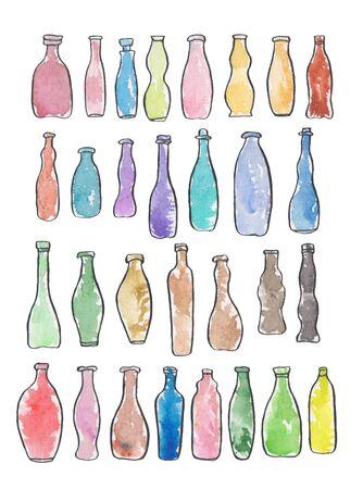 Waercolor set of different drink little boottles forms Stok Fotoğraf