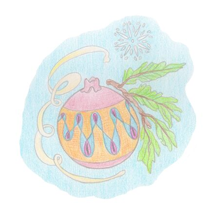 Watercolor pencil illustration of New Years Christmas toys balls