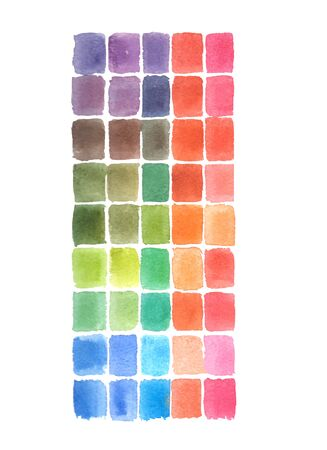 Watercolor Abstract hand drawing square colors