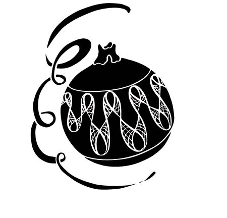 Black illustration of New Years Christmas toy balls Stockfoto
