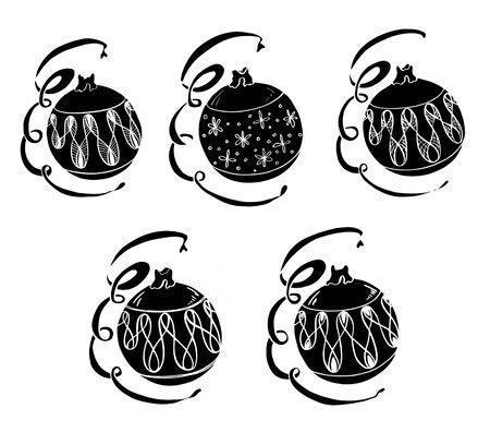 Set illustration of black New Years Christmas toy balls