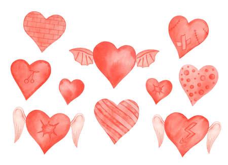 Watercolor Red Winged Emotion Hearts, Invitation Valentine's Card Archivio Fotografico