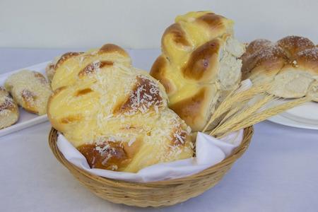 Home made sweet braided bread. Fresh bread.
