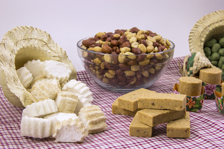 Several typical Brazilian sweets from Junina. Peanut, coconut candy, maria mole, pe de moleque, dulce de leche, chocolate