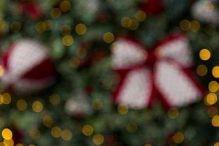 Christmas scene with gifts and tree objects. Christmas decoration. Christmas background blurred Archivio Fotografico