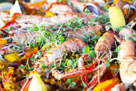 Seafood paella, typical dish of Spanish cuisine