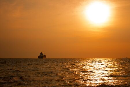 The Shipping, marine and sunlight in evening. Stok Fotoğraf