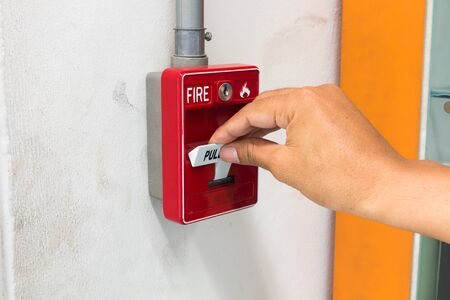 The pull handle fire alarm switch Stok Fotoğraf