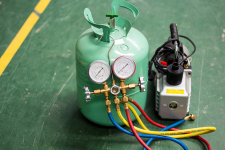 The manifold gauge for air condition service.