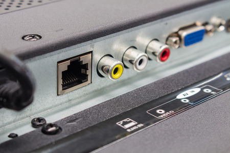 The RJ45 input connectors of smart TV, The high definition television input panel.