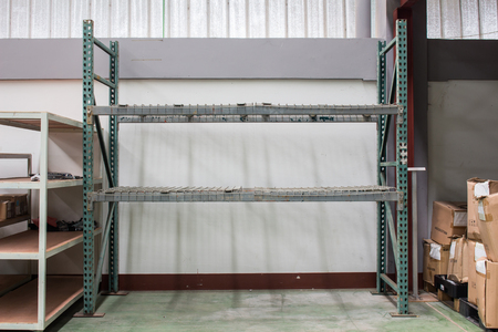warehouse. Rows of shelves with boxes(Blur picture) Stockfoto