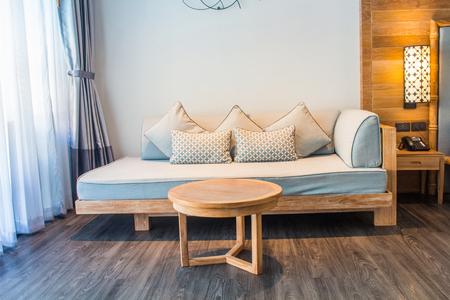 White stylish minimalist room with sofa. Parquet wood interior design Stock fotó