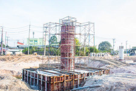 structure of bridge stanchion in the road construction site.