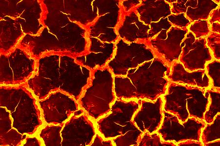 La surface de la lave, le stade de la fissure rouge pour le fond